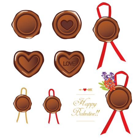 Vector Illustration set of wax seal for valentines day Illustration