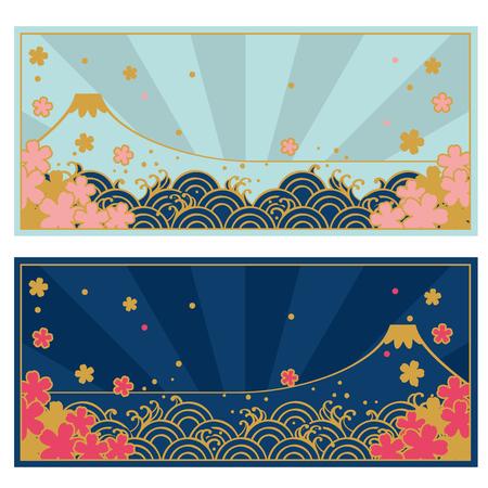 chinese new year card: Frame set of Traditional Japanese wave pattern and FUJIYAMA, SAKURA