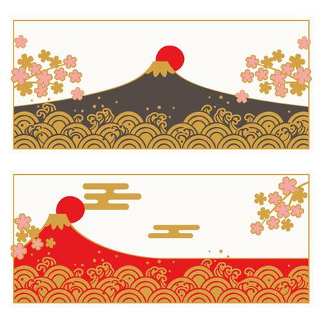 Frame set of Traditional Japanese wave pattern and FUJIYAMA, SAKURA