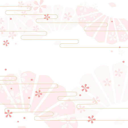 Vector background illustration of Folding fan and cherry blossoms Çizim