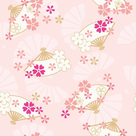 Seamless pattern of Oriental traditional Illustration, Folding fan and cherry blossoms Illustration