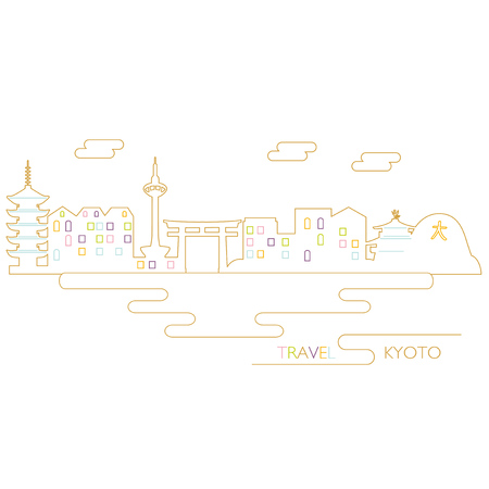 Vector Illustration of Kyoto, Japan Иллюстрация