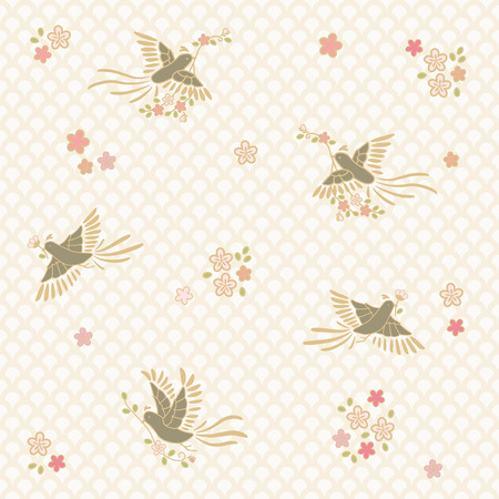 Seamless pattern of birds and flowers 向量圖像