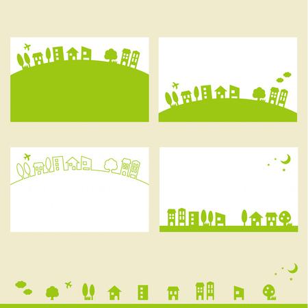 Plantilla de la tarjeta de visita del paisaje urbano