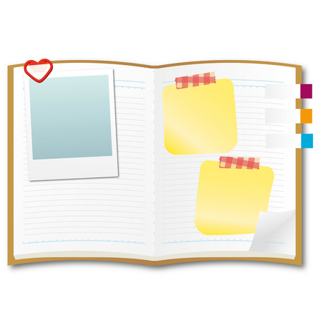 note book: Open note book with Sticky