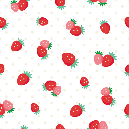 Strawberries fruit design in white seamless pattern background