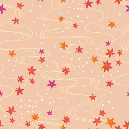 Fall foliage and water textures seamless pattern vector illustration. Illustration