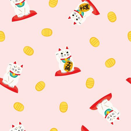 Seamless pattern of fortune cat Vektorové ilustrace