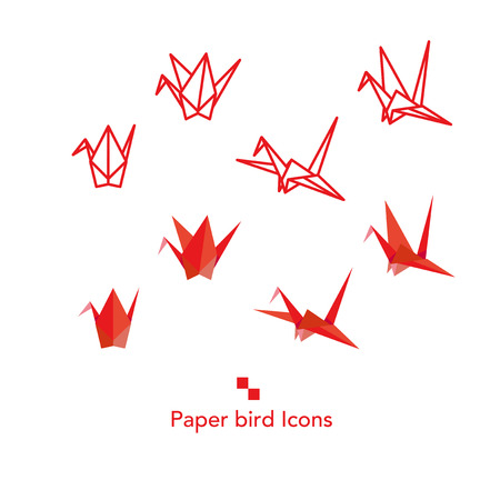 Paper bird icons set