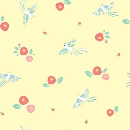 Seamless pattern of birds and camellia flowers