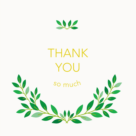 Thank you card design with green leaves