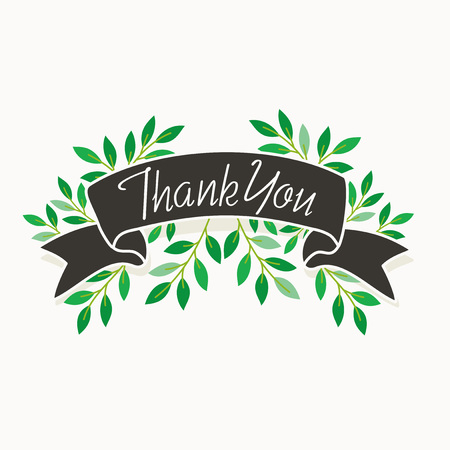 Thank you card design with green leaves Stock Vector - 109801802