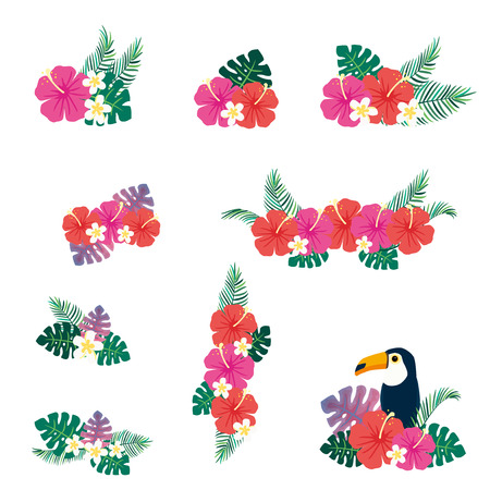 Vector illustration set of tropical flowers bouquet  イラスト・ベクター素材