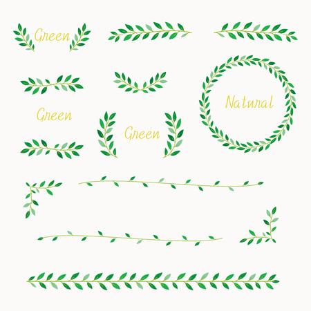 Green wreath design element set