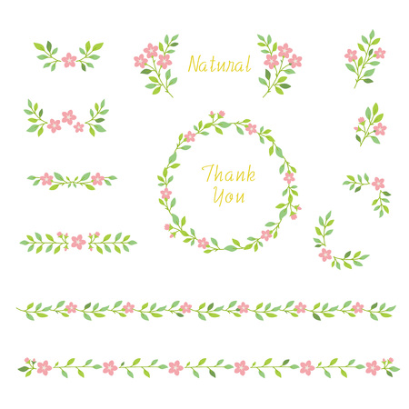 floral wreath design element set