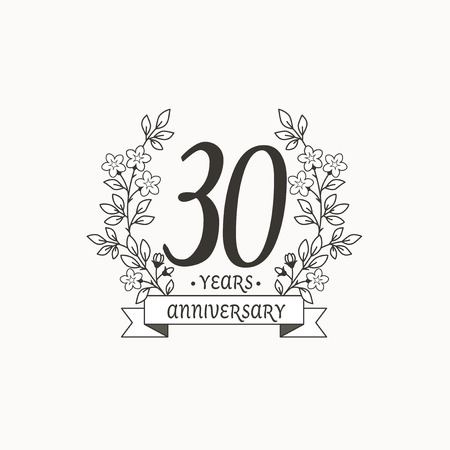 Anniversary logo template with ribbon and flowers, 30 year