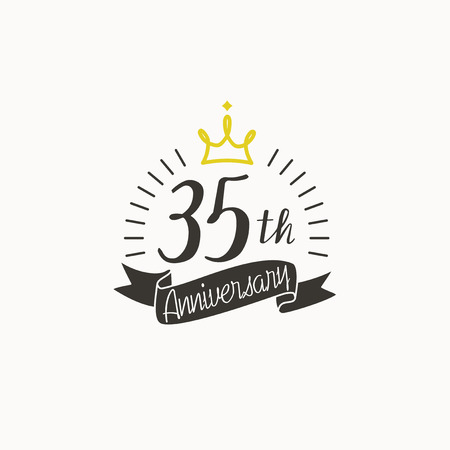 Anniversary logo template with ribbon and crown, 35th Illustration