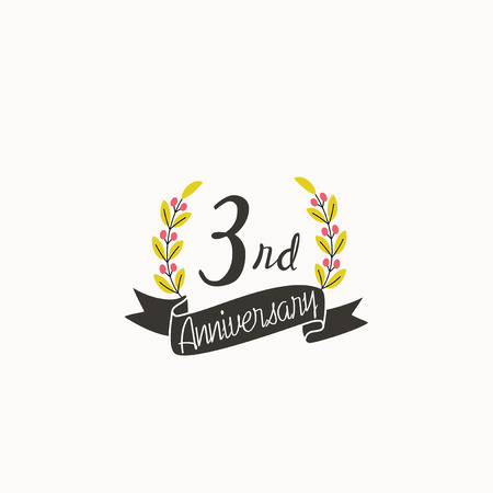 Anniversary logo template with ribbon and wreath, 3 rd Logó