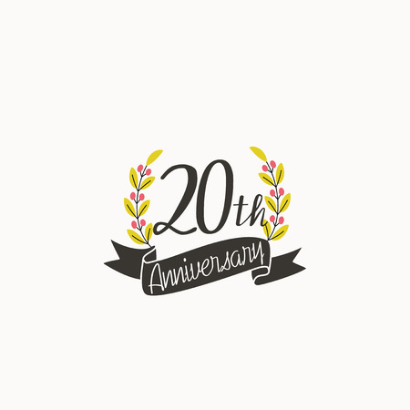 Anniversary logo template with ribbon and wreath, 20 th Illustration