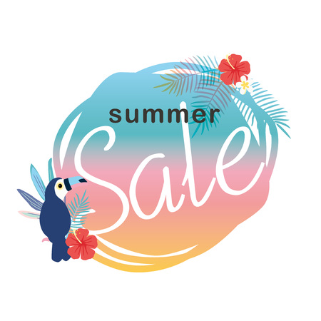 Summer sale illustration with tropical plants  イラスト・ベクター素材
