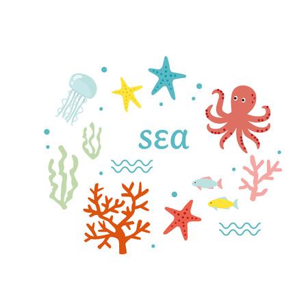 Vector illustration set  of sea animals