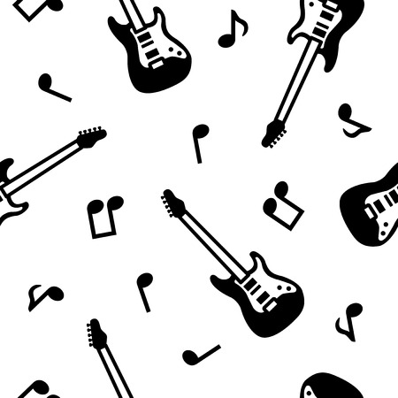 Guitar seamless pattern, black and white  イラスト・ベクター素材