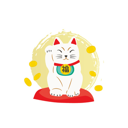 Cute fortune cat illustration