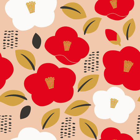 Seamless pattern of camellia flower