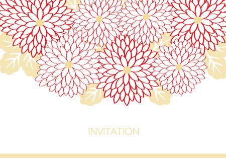 Invitation card design with flowers  イラスト・ベクター素材