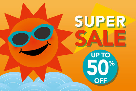 Summer sale illustration with smiling sun