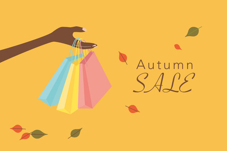 Autumn sale illustration with hand and shopping bag