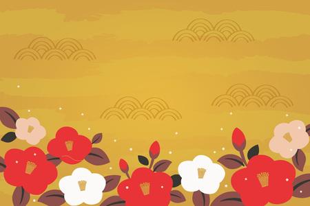 Camellia bloemen illustratie op gouden achtergrond