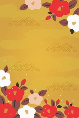 Camellia flowers illustration on gold background