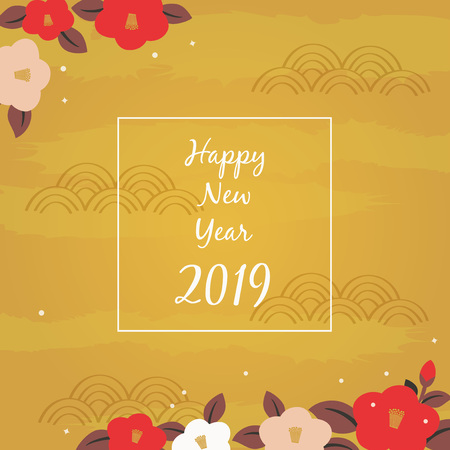Camellia flowers illustration on gold background, Happy new year 2019 Illustration