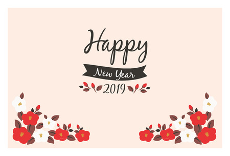 2019 camellia flower New Years Card Template