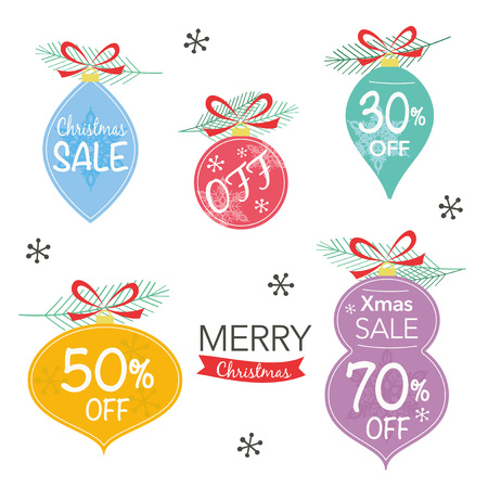 Christmas sale illustration, Pine branches and Christmas decoration