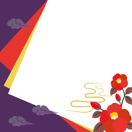 Background illustration with camellia flowers