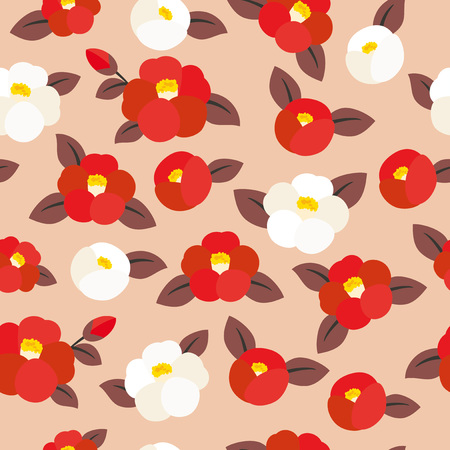 Seamless pattern of camellia flowers