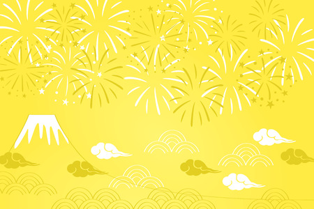 Fireworks and mountain illustration for new year, japanese traditional pattern Vettoriali