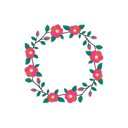 Vector frame illustration of camellia flowers Illustration