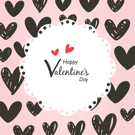 Valentines day Illustration with hand drawn heart pattern