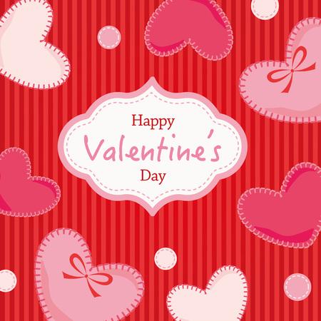 Background Illustration of felt's heart decoration, Happy valentine's day Illustration