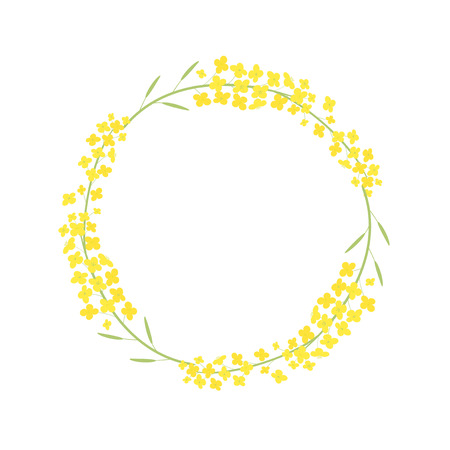 Vector canola flowers frame illustration Çizim