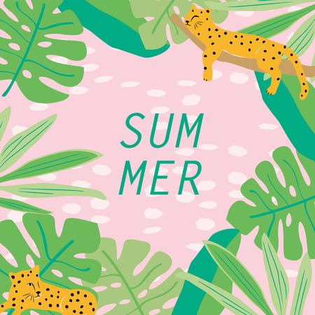 Vector background illustration of cute cheetah and tropical leaves