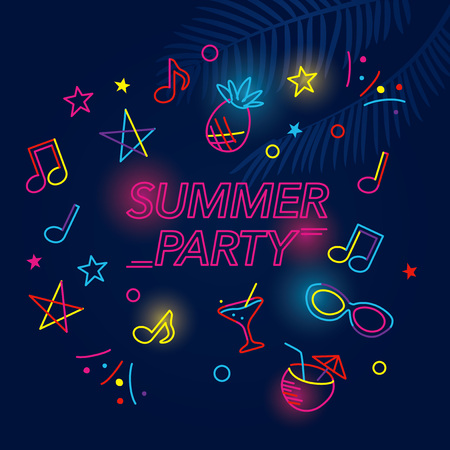 Summer party background illustration with tropical neon signs