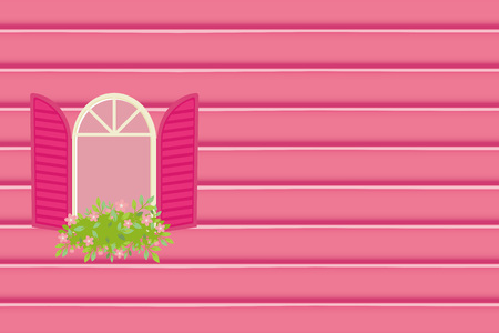 Window and flower illustration on blue background