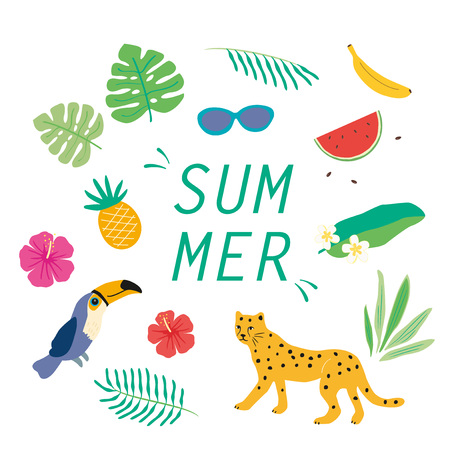 Vector tropical icon set, Tropical plants and animal and fruits illustration