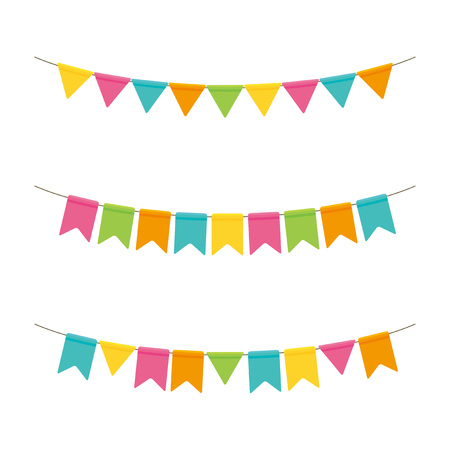 Colorful party flags illustration set