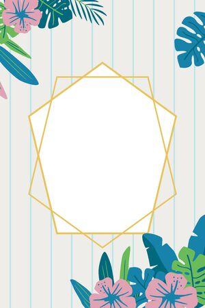 Tropical plants background frame illustration 向量圖像
