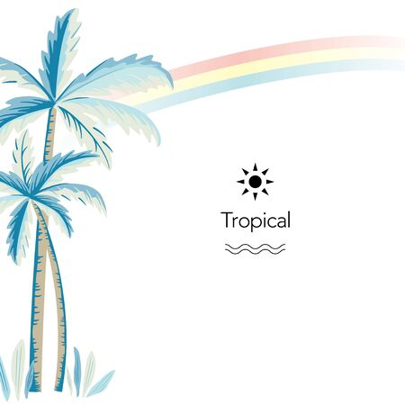 Vector palm tree and rainbow illustration on white background